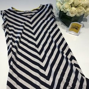 LOFT Navy Blue and Gray Striped short sleeve dress
